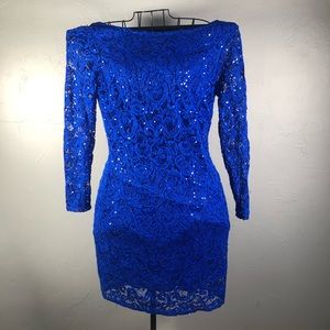 Blue stretch sequin and lace dress